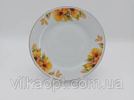 Тарелка мелкая десертная керамическая белая цветная с рисунком закусочная Примула в упаковке 12 штук D 20 cm