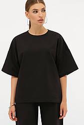 Женская черная трикотажная кофта футболка Джей к/р