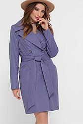 Женский  двубортный  классический плащ  фиолетовый  М-100