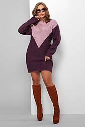 Теплое вызанное короткое  платье бордо 181