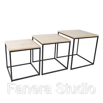 Журнальный стол лофт 3 в 1 цвет Дуб античный