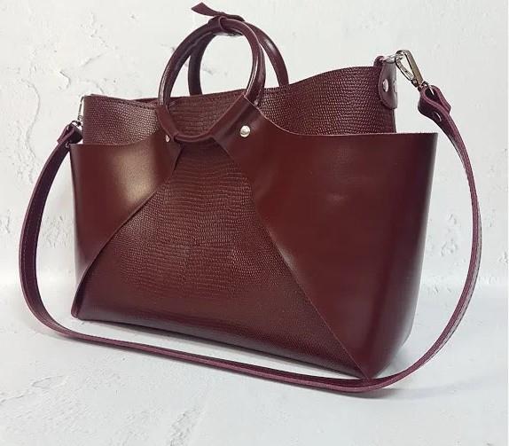 Оригинальная сумка из натуральной кожи марсала 1685