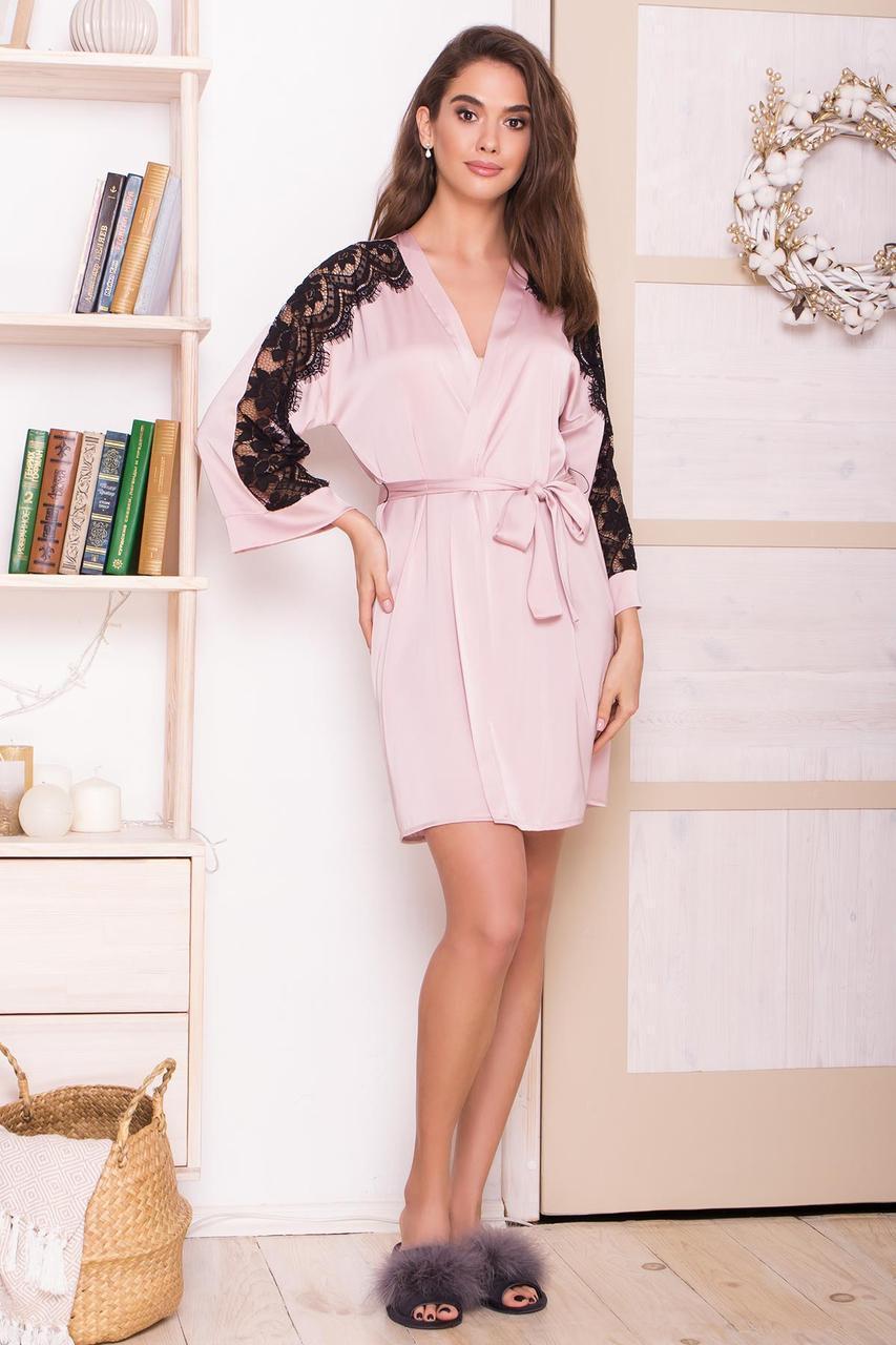 Женский шелковый  халат с гипюром  Хадия д/р