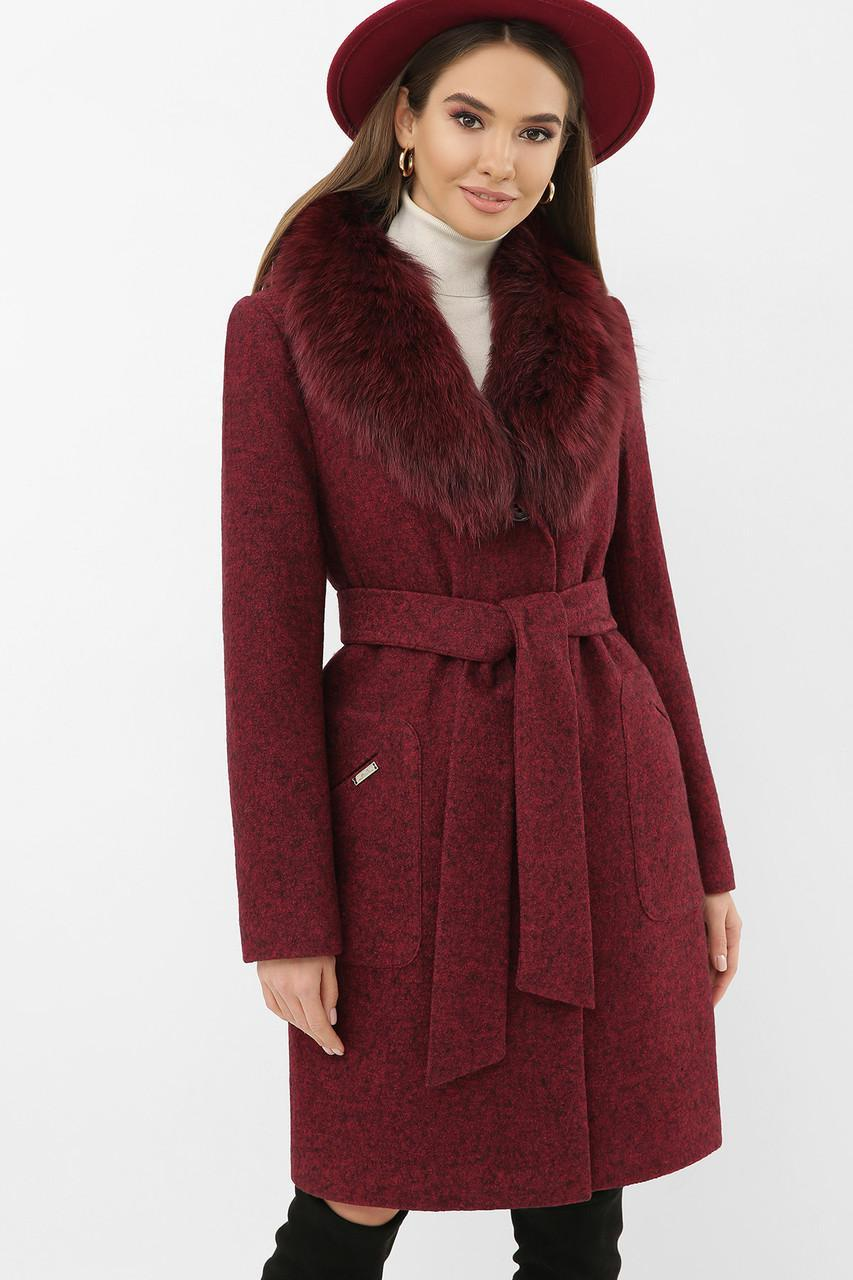 Женское зимнее пальто с меховым воротником бордовое  MS-191 Z