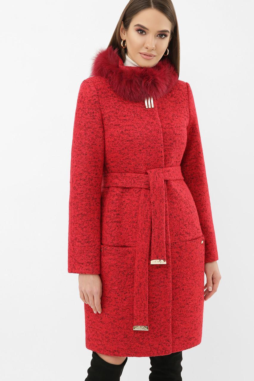 Женское зимнее пальто с меховым воротником стойкой  красное  MS-185 Z