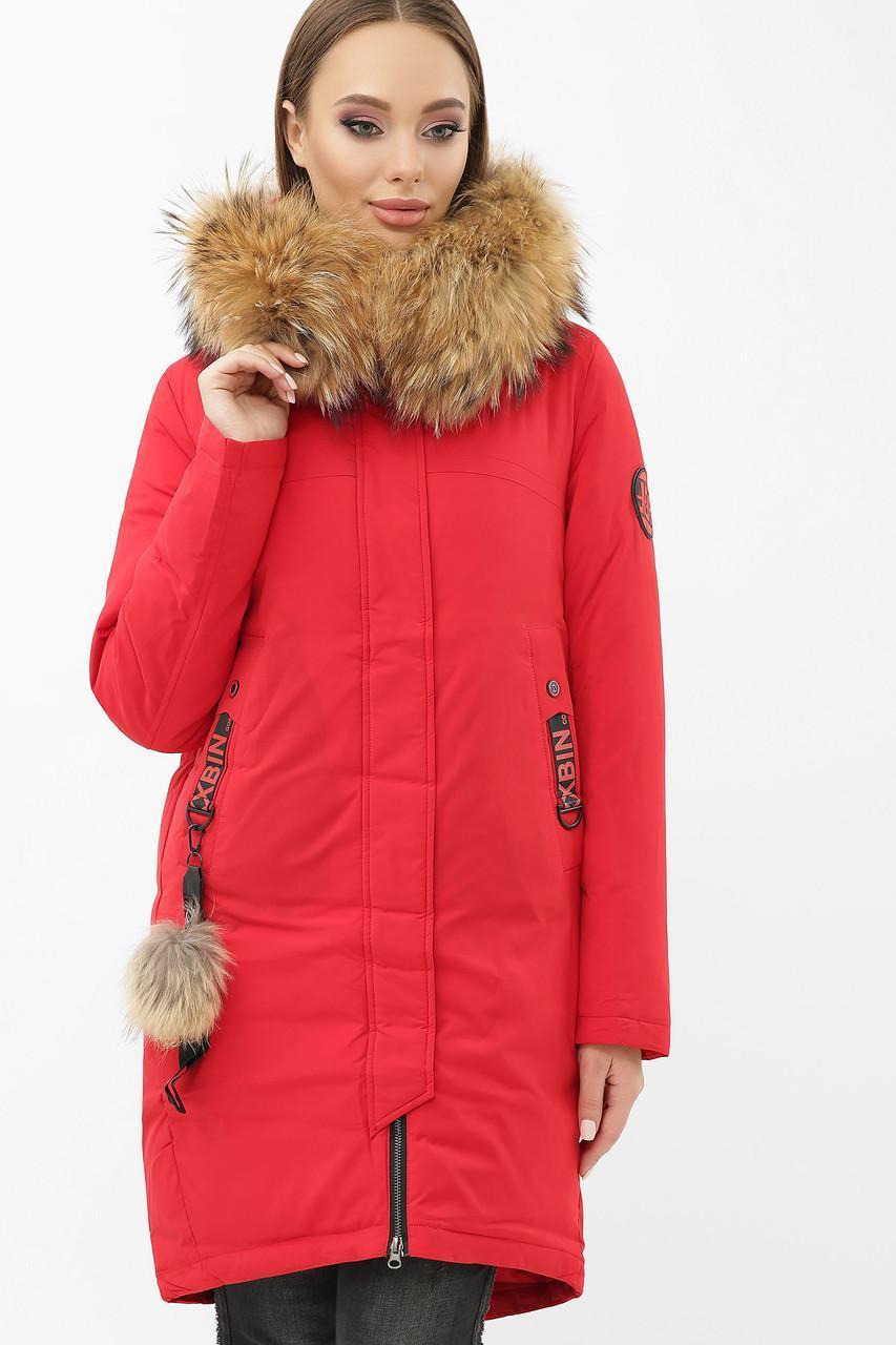 Женская зимняя куртка с натуральным мехом красная  2155