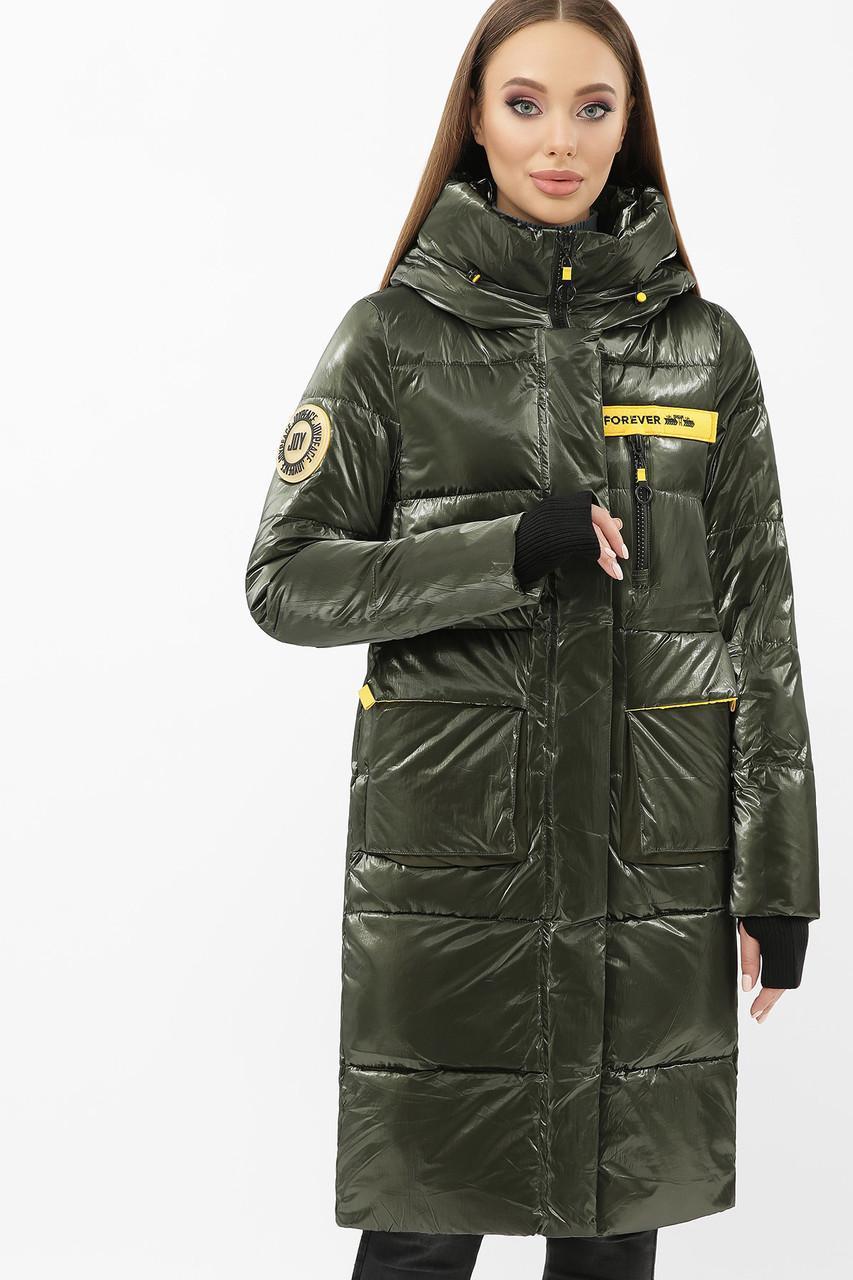 Женская зимняя куртка пальто хаки с желтым  298