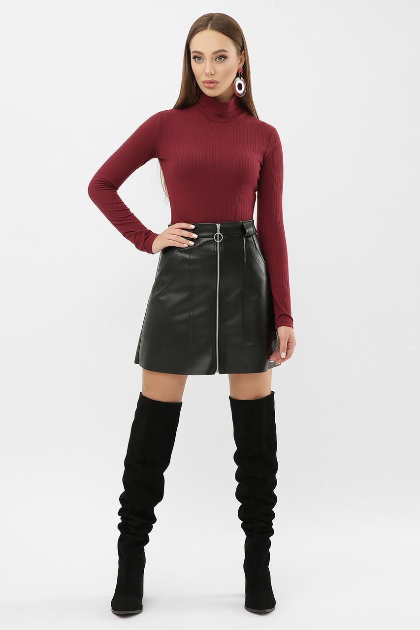Короткая  юбка из эко кожи на флисе  мод. №50