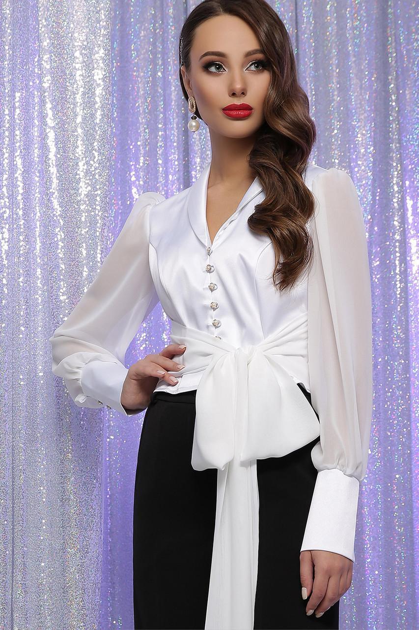 Ошатна біла атласна блуза з шифоновою рукавом Авріл д/р