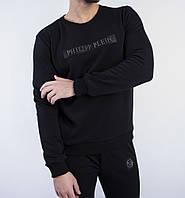Свитшот мужской черный Philipp Plein с металлическим логотипом