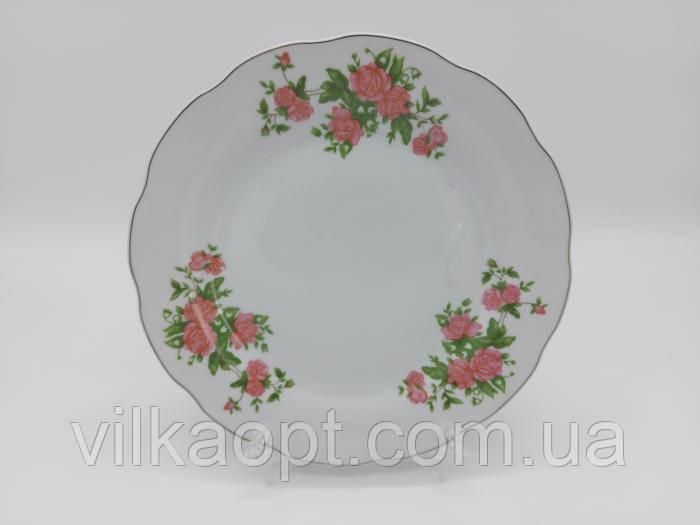 Тарелка мелкая закусочная керамическая белая цветная с рисунком Розовая роза обеденная для вторых блюд 23 cm