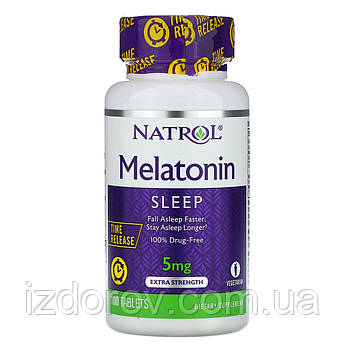 Natrol, Мелатонин, 5 мг, медленное высвобождение, с повышенной силой действия, 100 таблеток