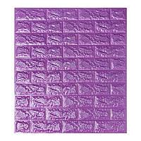 Декоративна 3D панель самоклейка під цеглу Фіолетовий 700х770х7мм, фото 1