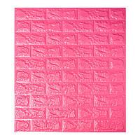 Декоративна 3D панель самоклейка під цеглу Темно-рожевий 700х770х7мм