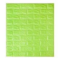 Декоративна 3D панель самоклейка під цеглу Зелений 700х770х5мм