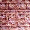 Самоклеюча декоративна 3D панель бамбукова кладка помаранчева 700х700х5мм
