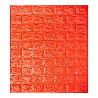 Самоклеющаяся декоративная 3D панель для кухни, стен, ванной самоклейка под кирпич Оранжевый  700х770х5мм, фото 1
