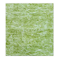 Декоративная 3D панель самоклейка под кирпич DEEP Green 700х770х5мм, фото 1