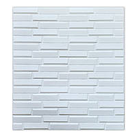 Самоклеюча декоративна 3D панель для кухні, стін, ванної біла кладка 770х700х8 мм, фото 1