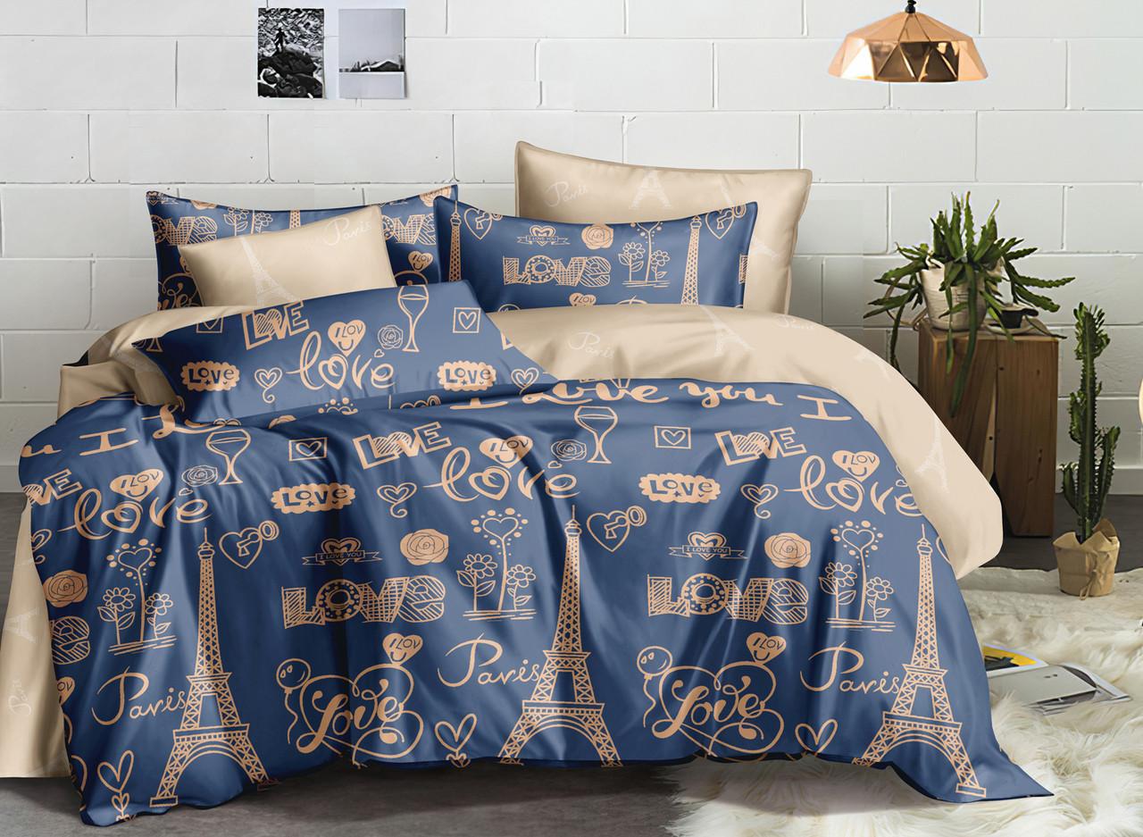 Двуспальный комплект постельного белья евро 200*220 ранфорс  (16979) TM KRISPOL Украина