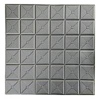 Самоклеюча декоративна 3D панель квадрат срібло 700x700x8мм, фото 1