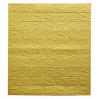 Самоклеющаяся декоративная 3D панель для кухни, стен, ванной желто-песочный кирпич 700x770x3мм, фото 1