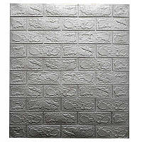 Самоклеющаяся декоративная 3D панель для кухни, стен, ванной самоклейка под кирпич Серебро 700х770х3мм, фото 1