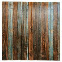 Самоклеющаяся декоративная 3D панель серо-коричневое дерево 700x700x6,5мм, фото 1