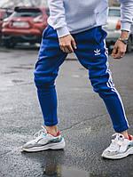 Спортивные штаны в стиле Adidas Thre line синие
