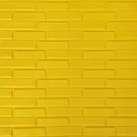 Самоклеюча декоративна 3D панель жовта кладка 700х770х7мм, фото 1