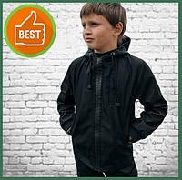 Детская куртка с капюшоном для мальчика черная на весну, спортивная ветровка на мальчика Easy softshell