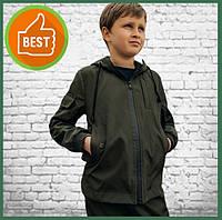 Детская куртка с капюшоном для мальчика хаки на весну, спортивная ветровка на мальчика Easy softshell