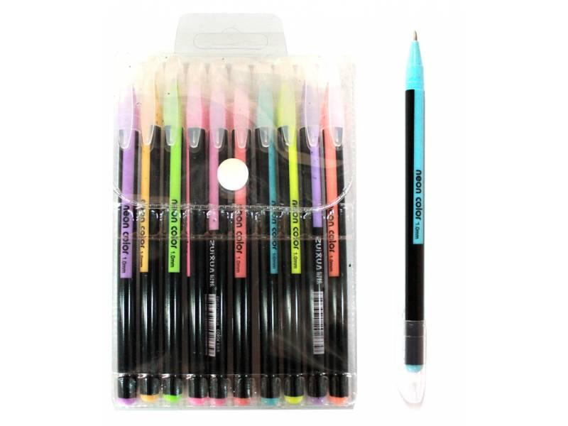 Ручки в наборі гелеві LK 96207-6 неон 6шт.