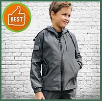 Детская куртка с капюшоном для мальчика серая на весну, спортивная ветровка на мальчика Easy softshell