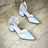 Жіночі шкіряні туфлі на міні підборах 36-40 р блакитний, фото 1