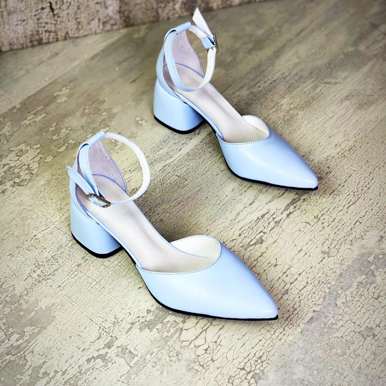 Жіночі шкіряні туфлі на міні підборах 36-40 р блакитний