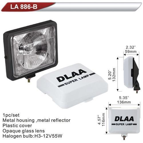 Фара дополнительная  DLAA  886B-W/H3-12V-55W/136*116mm/крышка (LA 886B-W)