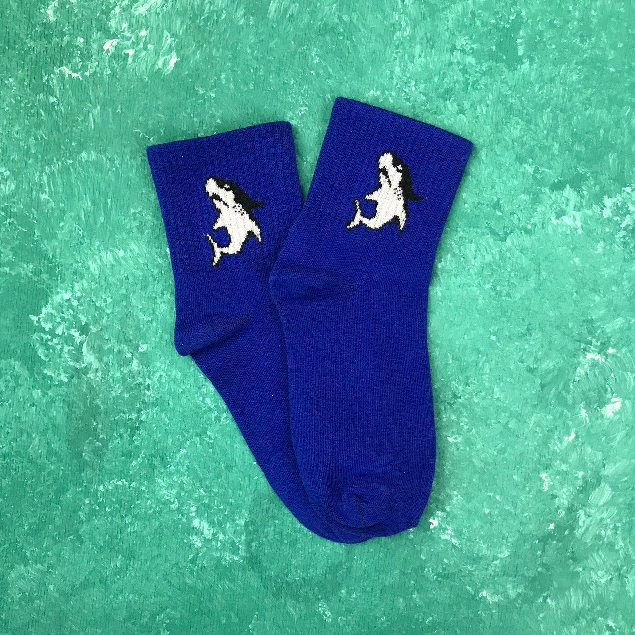 Шкарпетки Середні Жіночі Чоловічі City-A More than dope з Акулою Сині 37-41