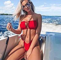 Женский пляжный купальник, раздельный, красный