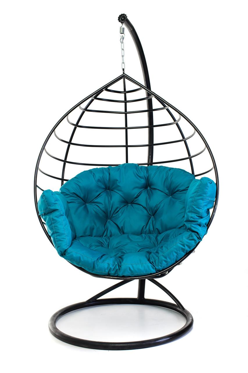 Підвісне крісло кокон для дому та саду з великою подушкою до 150 кг бірюзового кольору в чорному коконі AURORA-S Є
