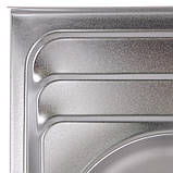 Кухонная мойка накладная ZERIX Z8060B-08-180E (satin) (ZX1620), фото 4