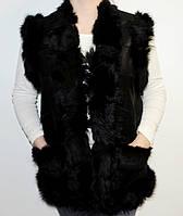 Шкіряний жіночий жилет, фото 1
