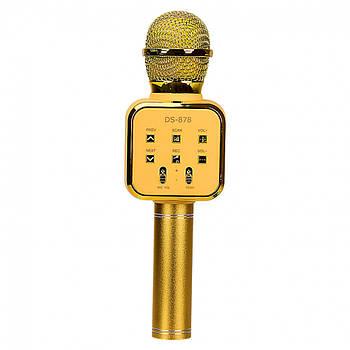 Микрофон караоке DS-878_gold золотой, usb-зарядка