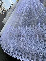 Тюль біла фатинова з вишивкою корд, фото 1