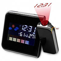 Часы-метеостанция с проектором времени будильник календарь Color Screen Calendar 8190