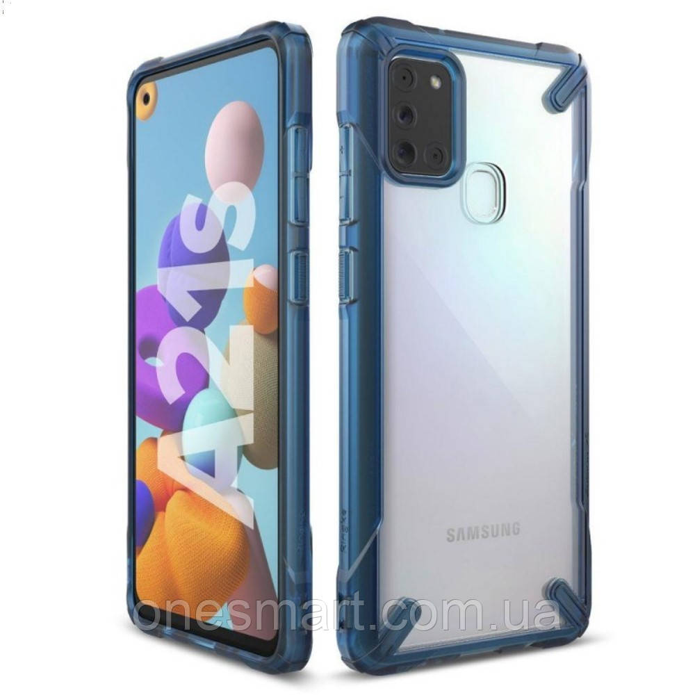 Чехол для Samsung Galaxy A21s Ringke Fusion X цвет SPACE BLUE (космический синий)