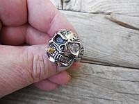 """Кольцо из нержавеющей стали с позолотой """"Skull smoker"""" от WickerRing"""
