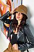 Женская коричневая панама из экокожи, фото 5