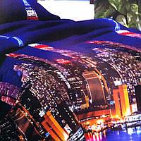"""""""Ночной город"""" постельное белье 3D эффект полуторный 140/210 см, ткань бязь"""