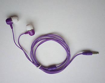 Вакуумные наушники фиолетовые (силиконовый кабель)